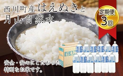 FYN9-271 【定期便3回】 令和2年産 山形県西川町産米 はえぬき10kg(5kg×2)と月山自然水2L×6本 2箱