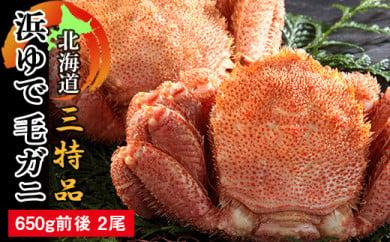 650g前後×2尾 浜ゆで毛蟹 【北海道三特品】〈ワイエスフーズ〉