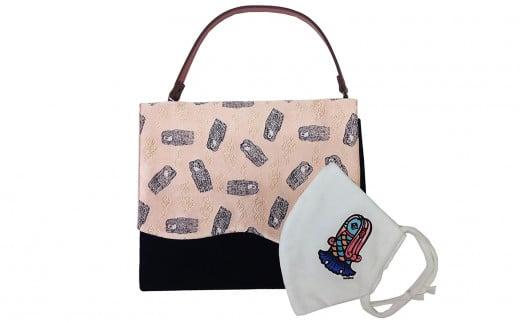 アマビエ バッグinバッグ(ピンク)&アマビエ マスク のセット