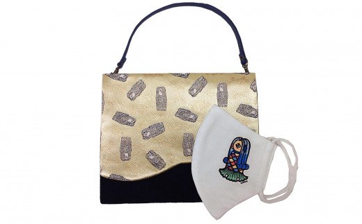 アマビエ バッグinバッグ(ゴールド)&アマビエ マスク のセット