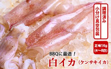 BBQに最適! 白イカ(ケンサキイカ) 調理済み 正味1K入り(4~8匹) ※小分け真空包装