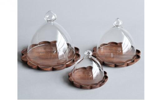 [№5787-0482]【YARN】かろやかなガラスドームとウォールナットのトレー【XL 単品】