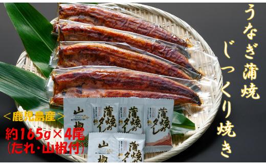 <鹿児島県産>うなぎ蒲焼じっくり焼き約165g×4尾(たれ・山椒付)(大新)