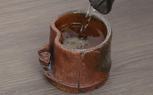 一夢庵風流窯 古竹風のぐい呑み 還元焼成 陶芸 手作り 焼き物