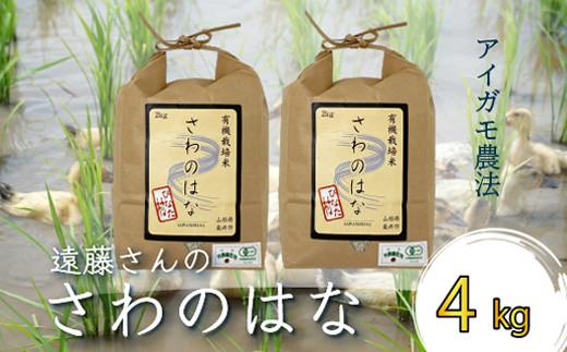 A081 【令和2年産】【数量限定】アイガモ農法「さわのはな」4kg<有機JAS認証>