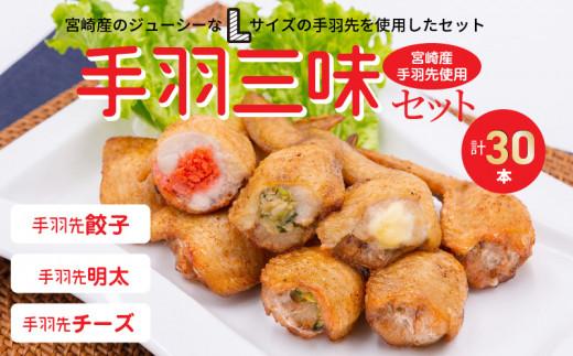 手羽三昧3種セット1.5kg(餃子・明太・チーズ各10本入り)_M025-001