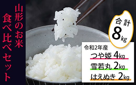 FY20-777 [令和2年産]山形のお米3種食べ比べセット(合計8kg)