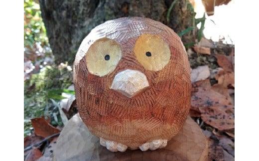 M0305木彫り ふくろうさん 9cm