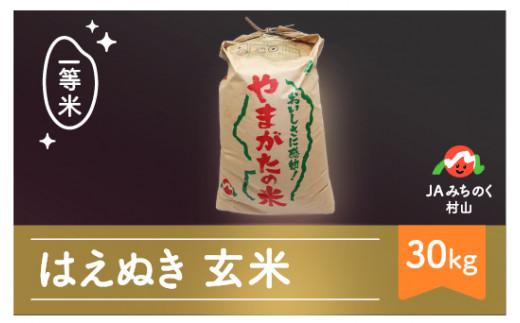 米 30kg はえぬき 玄米 令和2年産 2020年産 山形県村山市産 ja-hagxb30