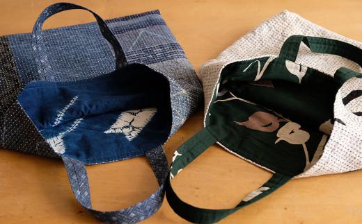 存在感のある 刺し子バッグ、気分に合わせてリバーシブルで使いたい