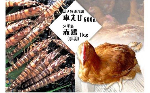 活〆急速冷凍車えび500g・久米島赤鶏(手羽)1kgセット