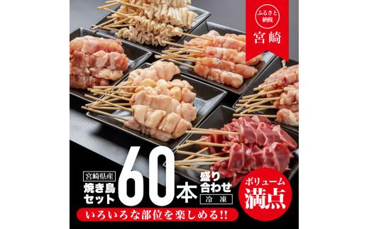 宮崎県産焼き鳥セット6種(60本)盛り合わせ(冷凍)_M146-001