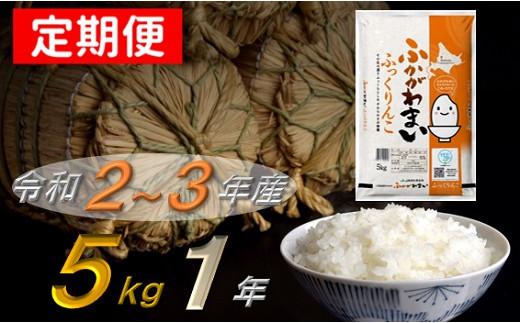ふっくりんこ1年定期便(5kg×12回発送)【北海道 米 道産米】