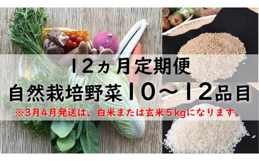 【12ヵ月定期便】自然栽培野菜10~12品目(3月4月は白米または玄米5kg)