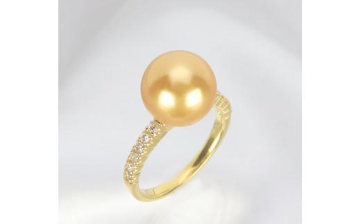 642 K18 南洋ナチュラルゴールデン真珠10.5mmup ダイヤモンド0.16ct  リング