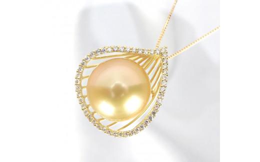 646 【真珠総合研究所鑑別書付】K18 南洋ナチュラルゴールデ真珠12.0mmup ダイヤモンド0.30ct ペンダントネックレス