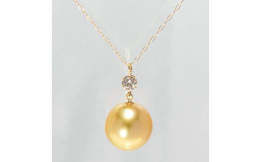 643 K18 南洋ナチュラルゴールデ真珠10.0mmup ダイヤモンド0.15ct ペンダントネックレス
