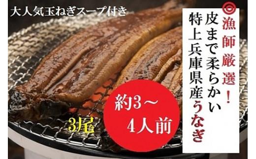 AUA5:漁師厳選!大吟醸酒米で育てた兵庫県産極上うなぎ蒲焼3尾セット【たまねぎスープ付き】