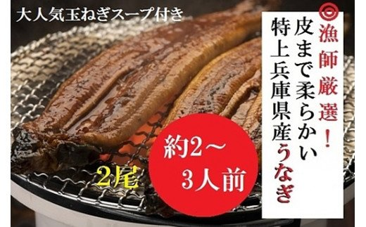 AUA4:漁師厳選!大吟醸酒米で育てた兵庫県産極上うなぎ蒲焼2尾セット【たまねぎスープ付き】