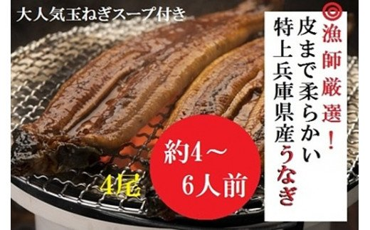 AUA6:漁師厳選!大吟醸酒米で育てた兵庫県産極上うなぎ蒲焼4尾セット【たまねぎスープ付き】