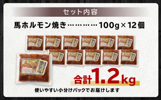 馬かぁホルモン焼き 100g×12個 計1.2kg ホルモン