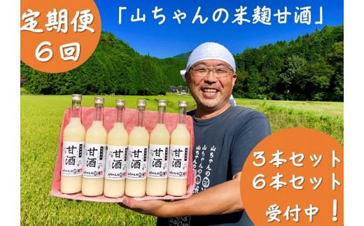 132.定期便6回 山ちゃんの米麹甘酒 500ml 6本セット 米麹・無添加・ノンアルコール・米・飲む点滴