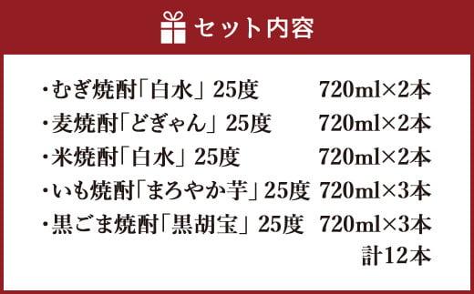 焼酎 米 麦 いも 黒胡麻 飲み比べ 25度 720ml 12本
