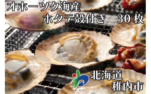 【北海道オホーツク海産】ホタテ殻付き冷凍(30枚)【20002】