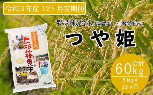 【先行予約 令和3年産 新米】《12ヶ月定期便》特別栽培米 つや姫 5kg/月 〈10月~翌年9月発送〉 2021年産 減無