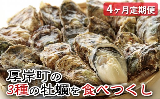 [№5863-0557]厚岸町の3種の牡蠣を食べつくし 4ヶ月定期便
