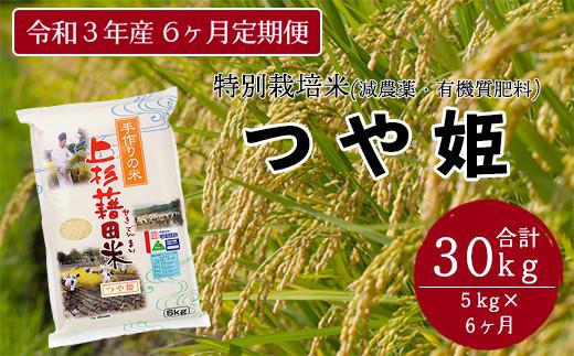 【先行予約 令和3年産 新米】《6ヶ月定期便》特別栽培米 つや姫 5kg/月 〈10月~翌年3月発送〉 2021年産
