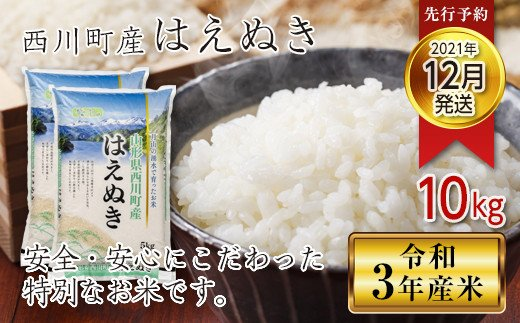 FYN9-350 【先行予約】令和3年産 山形県西川町産米 はえぬき 10kg(2021年12月発送)