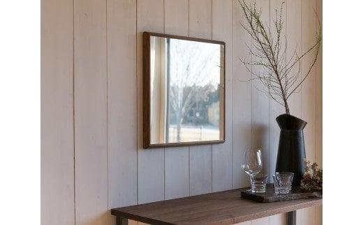 SENNOKI ウォールナット木枠正方形 デザインインテリアミラー