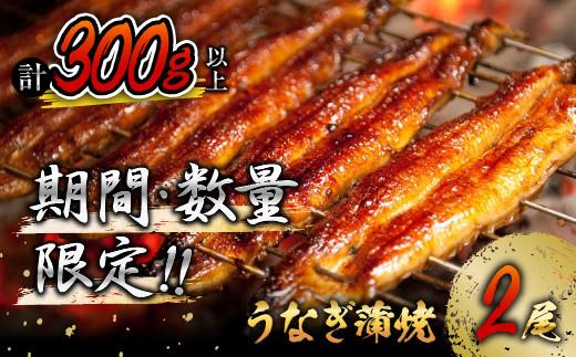 A508-0609 《毎月100セット限定》うなぎ蒲焼2尾(計300g以上)国産鰻(ウナギ・さんしょう・たれセット)
