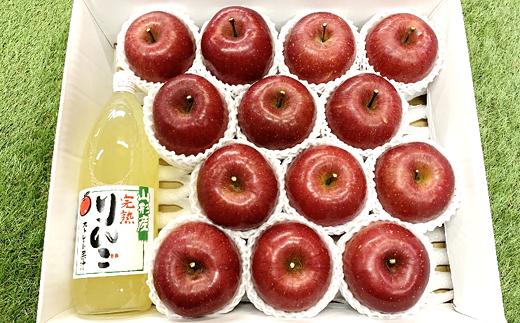 956 【令和3年11月下旬~発送予定】完熟みつ入りふじりんご 約3.5㎏+ふじりんごジュース1本