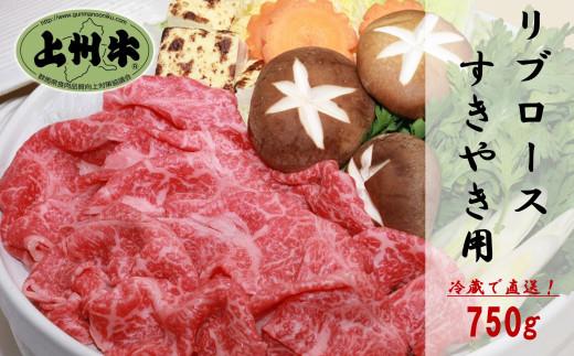 上州牛リブロース750g:すき焼き用【冷蔵で直送】B-15