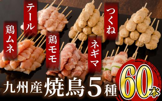 絶品!九州産焼鳥 5種盛合せ 60本(特製焼き鳥のタレ付き)B-662