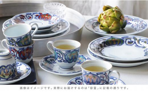 A500-29 源右衛門窯 染錦間取唐花文色変り(ケーキ皿・小碗皿)