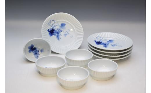 A50-145 深川製磁 ブルーワイナリー 和皿・小付セット