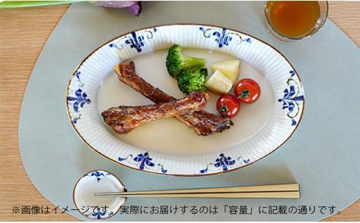 A30-192 皓洋窯 しのぎオーバル皿と片口箸置き小皿ペアセット