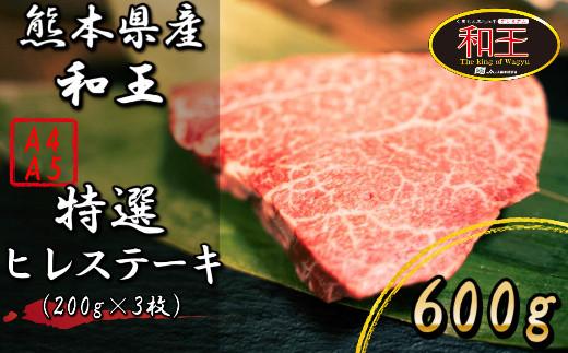 IZ002 熊本県産 黒毛和牛 和王 ヒレステーキ 600g 和牛 肉 牛肉