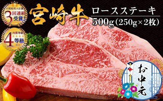 AD38-GEN 《お中元》宮崎牛ロースステーキ(250g×2枚)&合挽きハンバーグ(100g×4個)セット《合計900g》