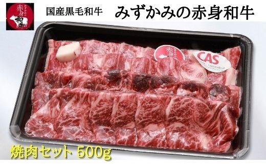 国産黒毛和牛 みずかみの赤身和牛 焼肉セット500g スキンパック包装(00724A)