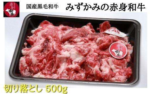 国産黒毛和牛 みずかみの赤身和牛 切り落とし500g スキンパック包装(00728A)
