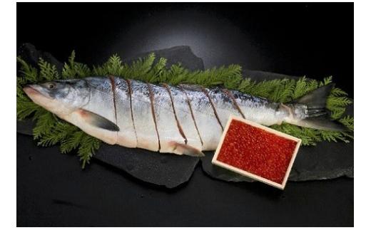 網元のいくら醤油漬150gと新巻鮭半身切身700g前後[01-019]