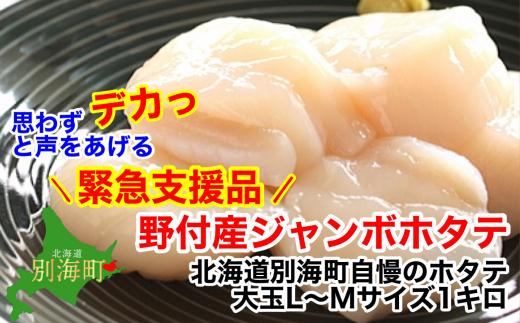 <緊急支援品>大玉L-Mサイズ 冷凍ほたて貝柱1kg 北海道野付産【1201398】