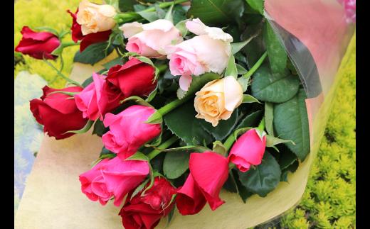 【約15本】生産者直送 有機栽培で育った朝切りバラの花束 【11246-0046】