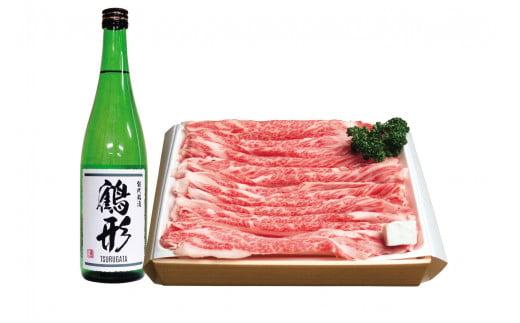 秋田県能代産 鶴形牛バラすきやき用(500g)・大吟醸「鶴形」(720mL)セット