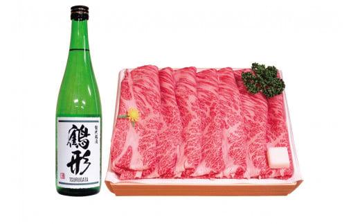 秋田県能代産 鶴形牛ロースまたは肩ロースすき焼き用(500g)・大吟醸「鶴形」(720mL)セット