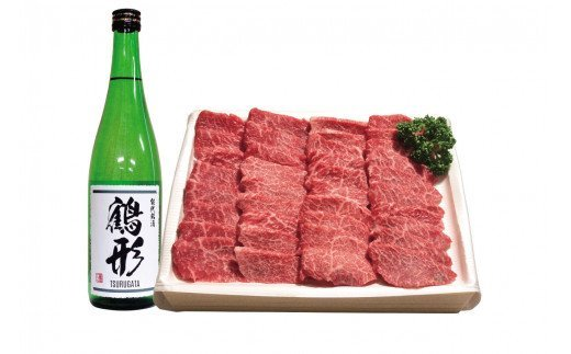 秋田県能代産 鶴形牛モモ焼肉用(500g)・大吟醸「鶴形」(720mL)セット